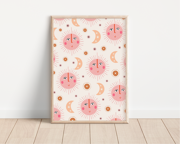 Pink Sun Patterned A4 Print