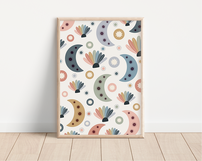 Moons and Shells A4 Print