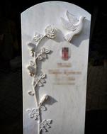 Grabstein Rose mit Taube