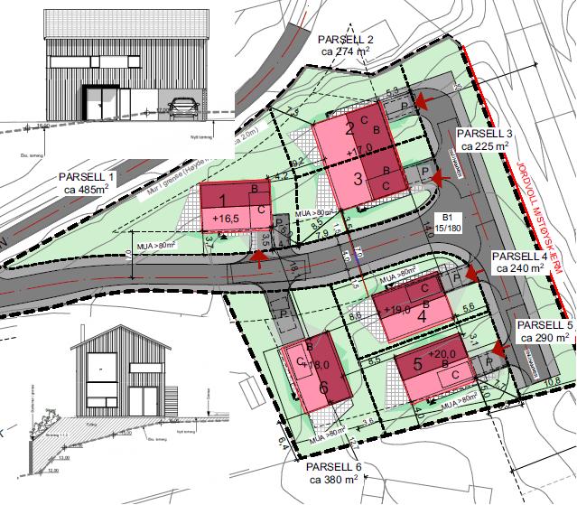 Utsnitt av Situasjonsplan og boliger på Solheimhagen felt B1