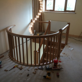 Stairs with landing rail