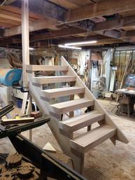 Open tread stiars in the workshop