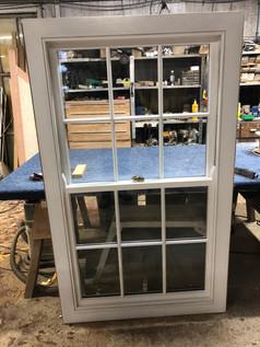Box sash window in the workshop
