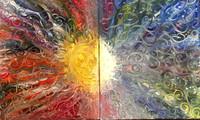 "Sun & Moon—Oil on Canvas. 2 16"" x 20""."