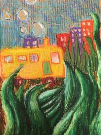 Sea School Bus—Pastel on Cardboard.