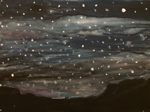 """Somewhere Cold—Watercolor on Canvas. 16"""" x 20""""."""