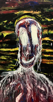 "Dissociative—Acrylic on Canvas. 24"" x 48""."