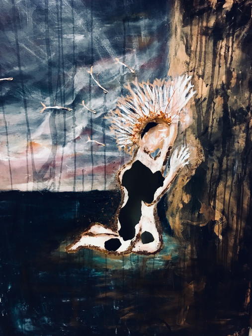"""Giving Up—Acrylic and Copper on Canvas. 36"""" x 48""""."""