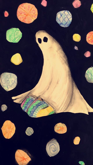 """Ghosting—Acrylic and Watercolor on Paper. 16"""" x 20""""."""