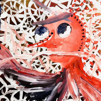 "Alien Friend— Acrylic on Canvas. 10"" x 10""."