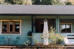 Blue Log Cabin
