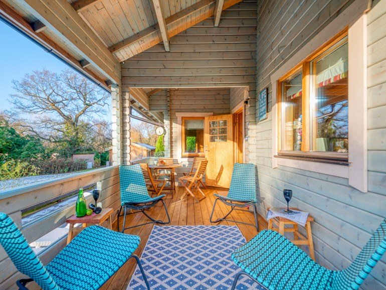 Blue Log Cabin Decking