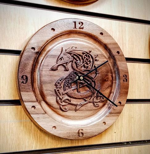 Black Walnut Dragon Figurehead clock