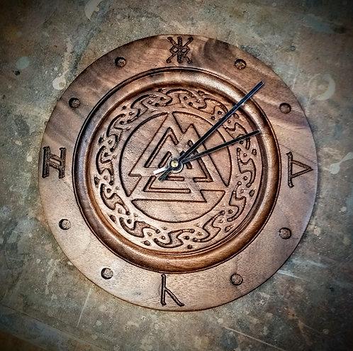 Black Walnut Viking symbol clock