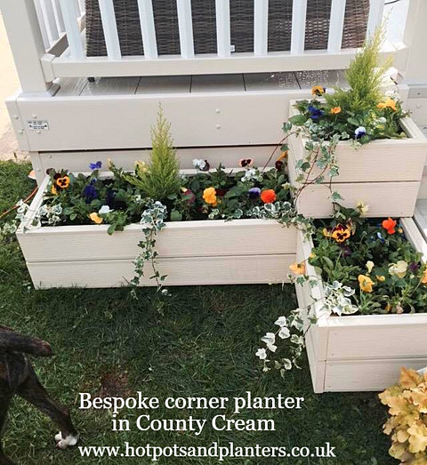 Large Corner L Shaped Wooden Garden Planter Box Trough: Harefield Woodcraft Bespoke Benches, Planters, Furniture