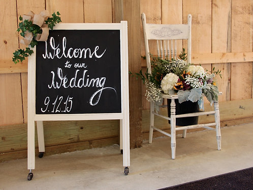 White Welcome Chalkboard Sign