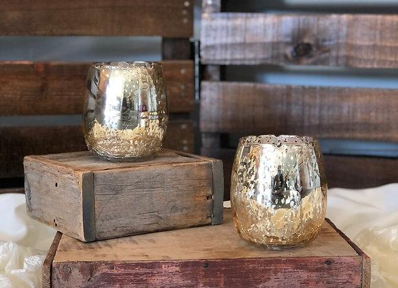 Medium Gold Mercury Candle Holders