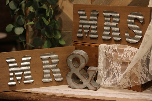 Mr & Mrs Wood Plank with Galvanized Lettering (2 Piece)
