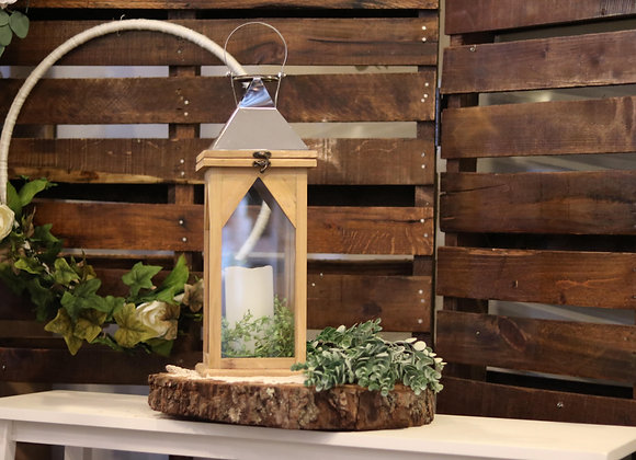 Large Wood Lantern with Silver Top