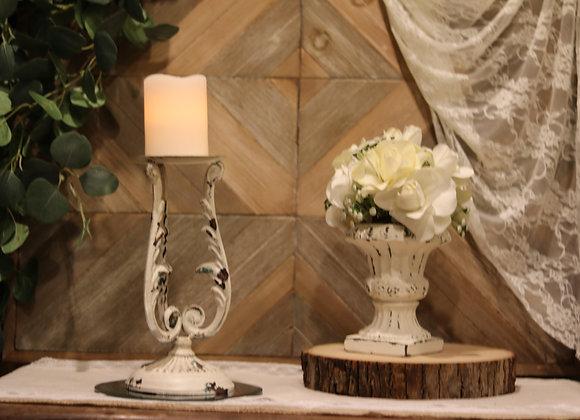 White Wash Pillar Candle Holder