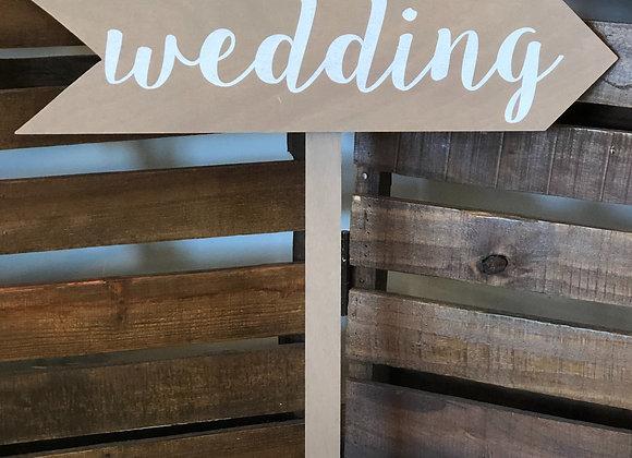 "Brown ""wedding"" Arrow Sign"
