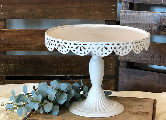 Tall White Scalloped Cake Stand