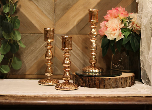 Assorted Rose Gold Candlesticks