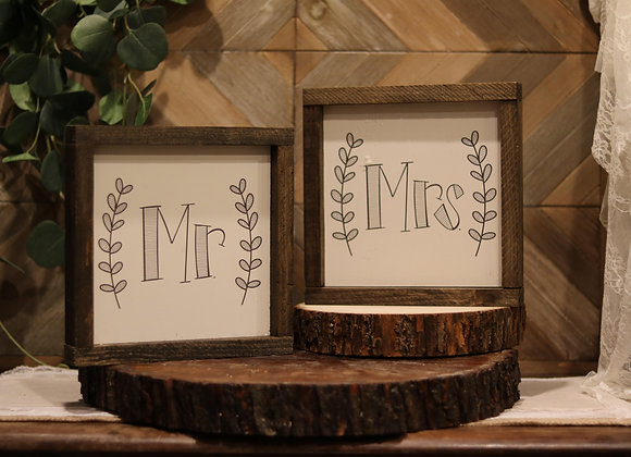 Mr. & Mrs. Wooden Frame (2 Piece)