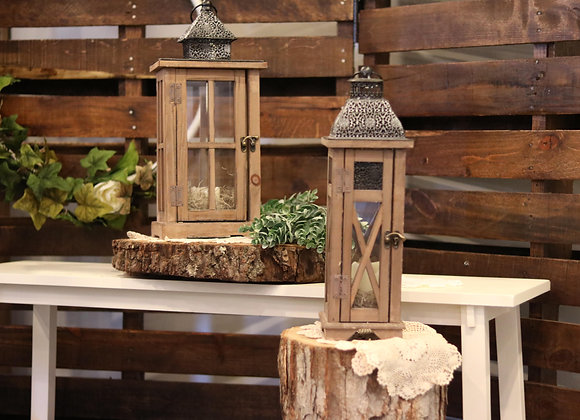 Wooden Lantern with Metal Top - Two Sizes