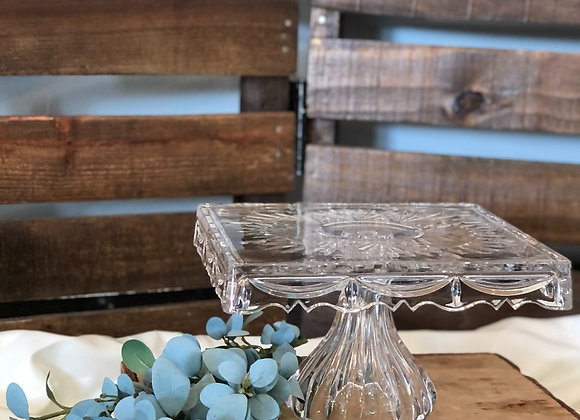 Square Clear Glass Cake Stand