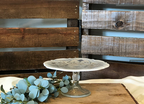 Small Frosted White Cake Stand