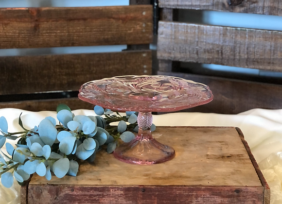 Small Clear Blush Cake Stand