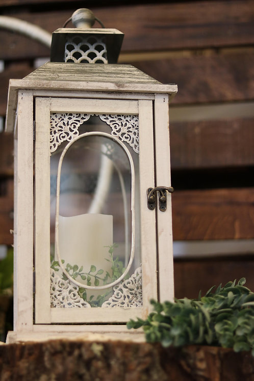 Whtie Wooden Lantern