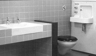 interior arrangement of the Barbican countertop washbasin, handrinse basin and wall hung WC