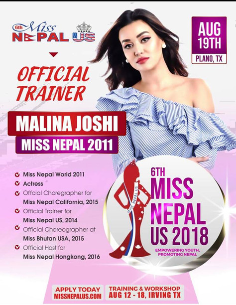 Miss Nepal 2011 Malina Joshi, appointed as Official Trainer for 6th Miss Nepal US