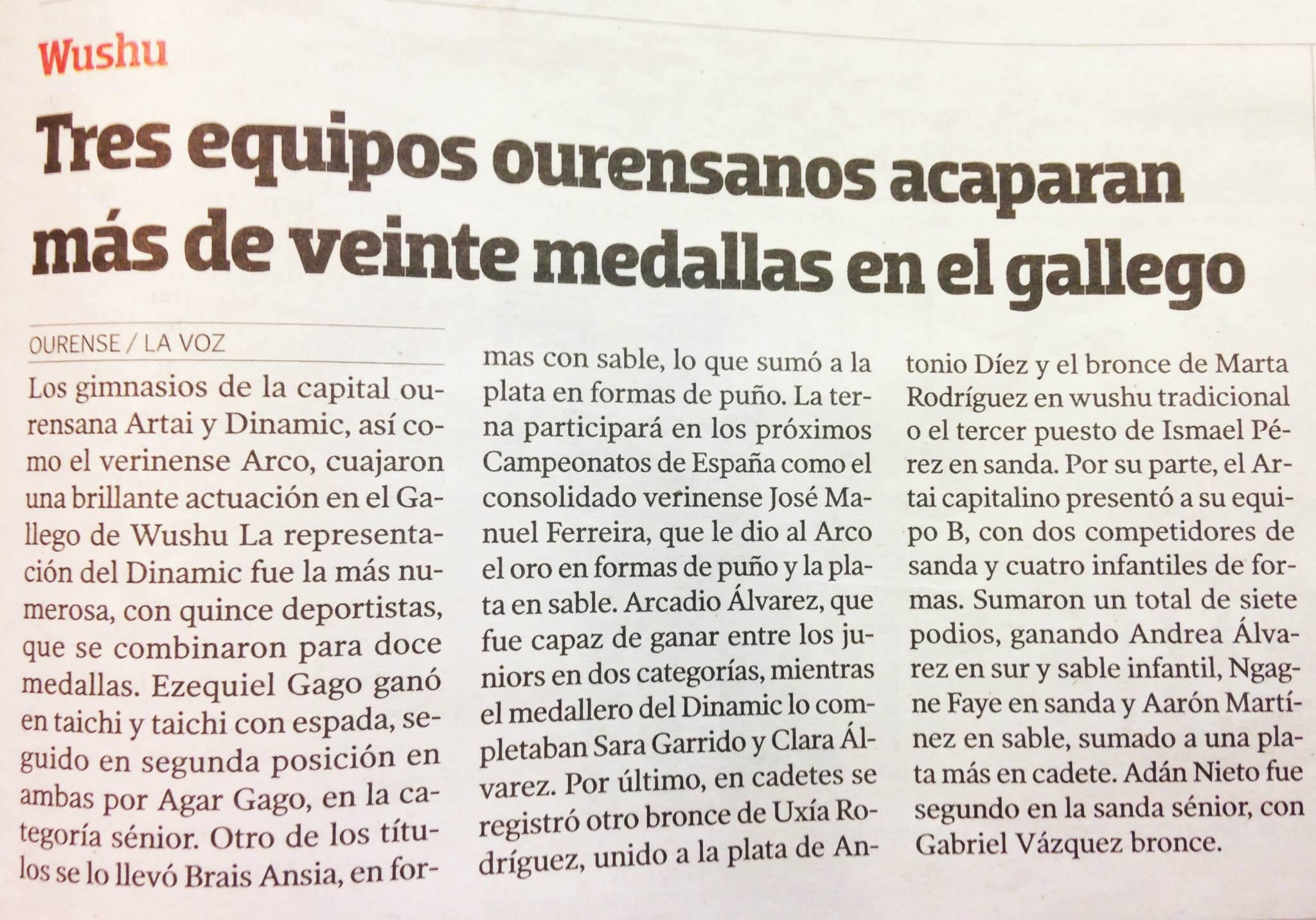 La Voz de Galicia  04/05/15