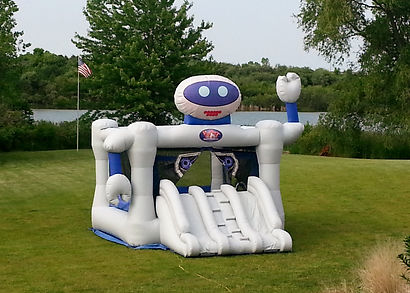 inflatable Bounce Bot setup in yard