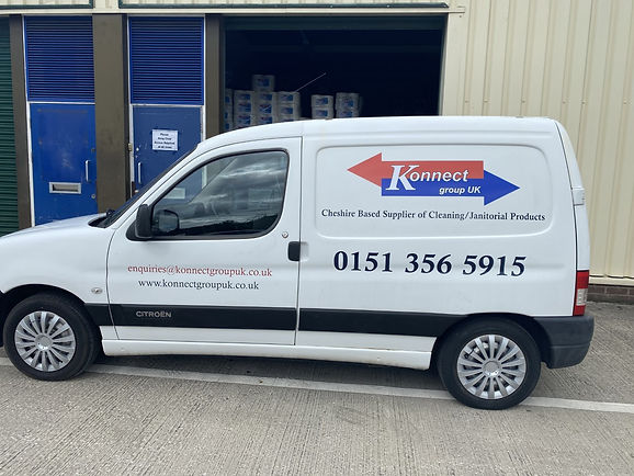 Konnect Group UK. One of our many vans used to deliver in the local Cheshire area including Ellesmere Port,