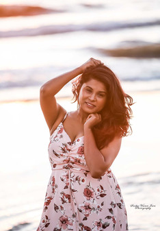 fashion photography style model portrait sunset sunrise chennai beach fly silhouette