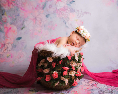 newborn photography chennai baby cute pose portrait bucket floral pink girl