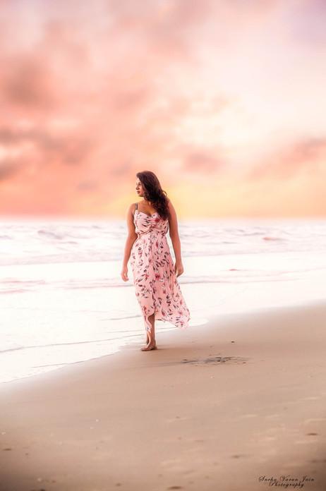 fashion photography pose style model portrait beach day sunset dramatic sky pink