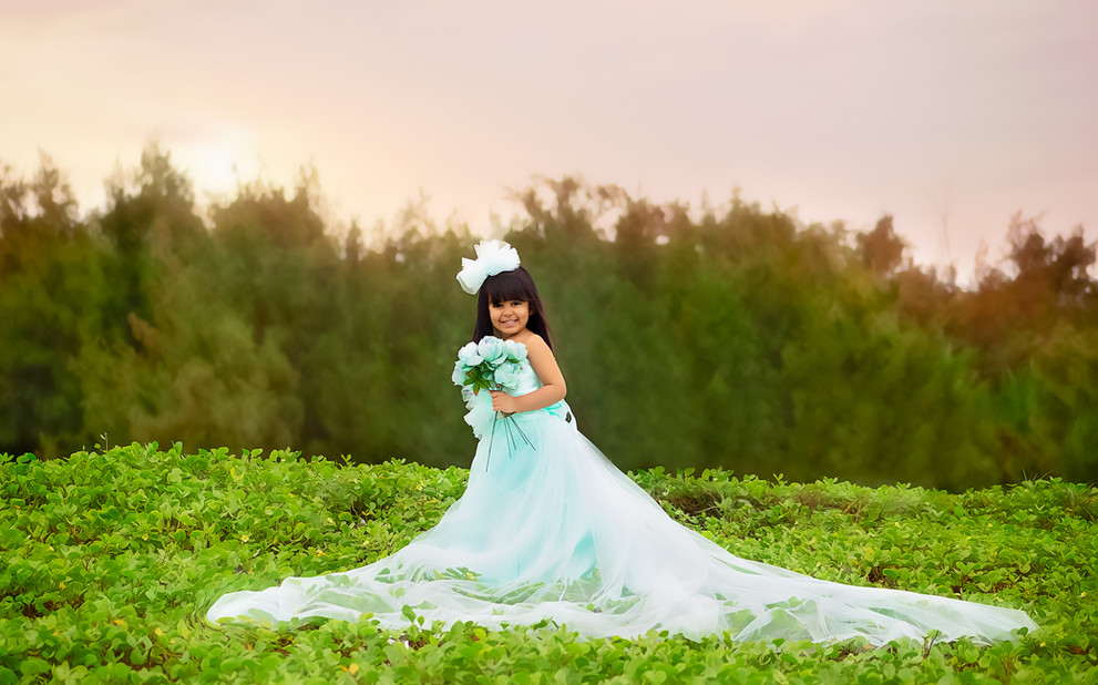 kids photography poses pastel green outdoor princess mini session love florals gown four year old toddler beach pastel green long trail