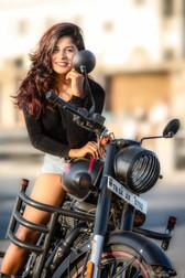 royal enfield rider girl chennai fashion photography model portrait beach happy closeup