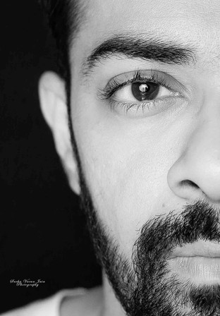 fashion photography pose style model portrait sexy beard black and white half face