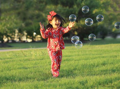 kids photography toddler bubbles disney pajama fun