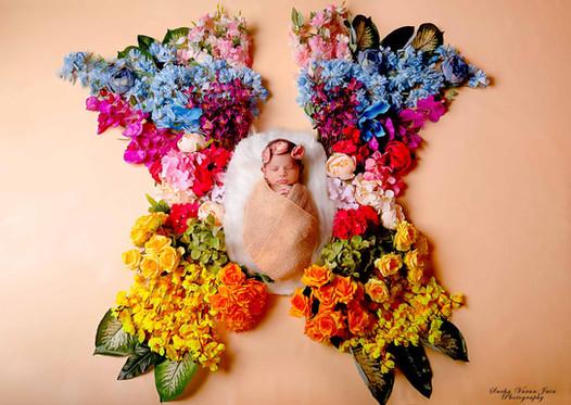 newborn photography chennai girl baby butterfly flower colour rainbow cute