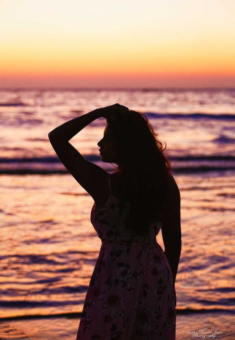 fashion photography pose style model portrait sunset sunrise chennai beach silhouette