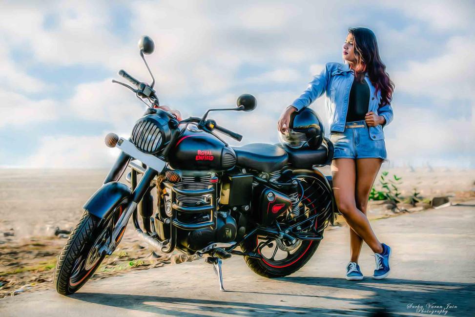 royal enfield rider girl chennai fashion photography pose style model portrait beach