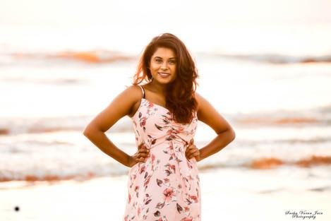 fashion photography pose style model portrait beach sunset sunrise waves orange