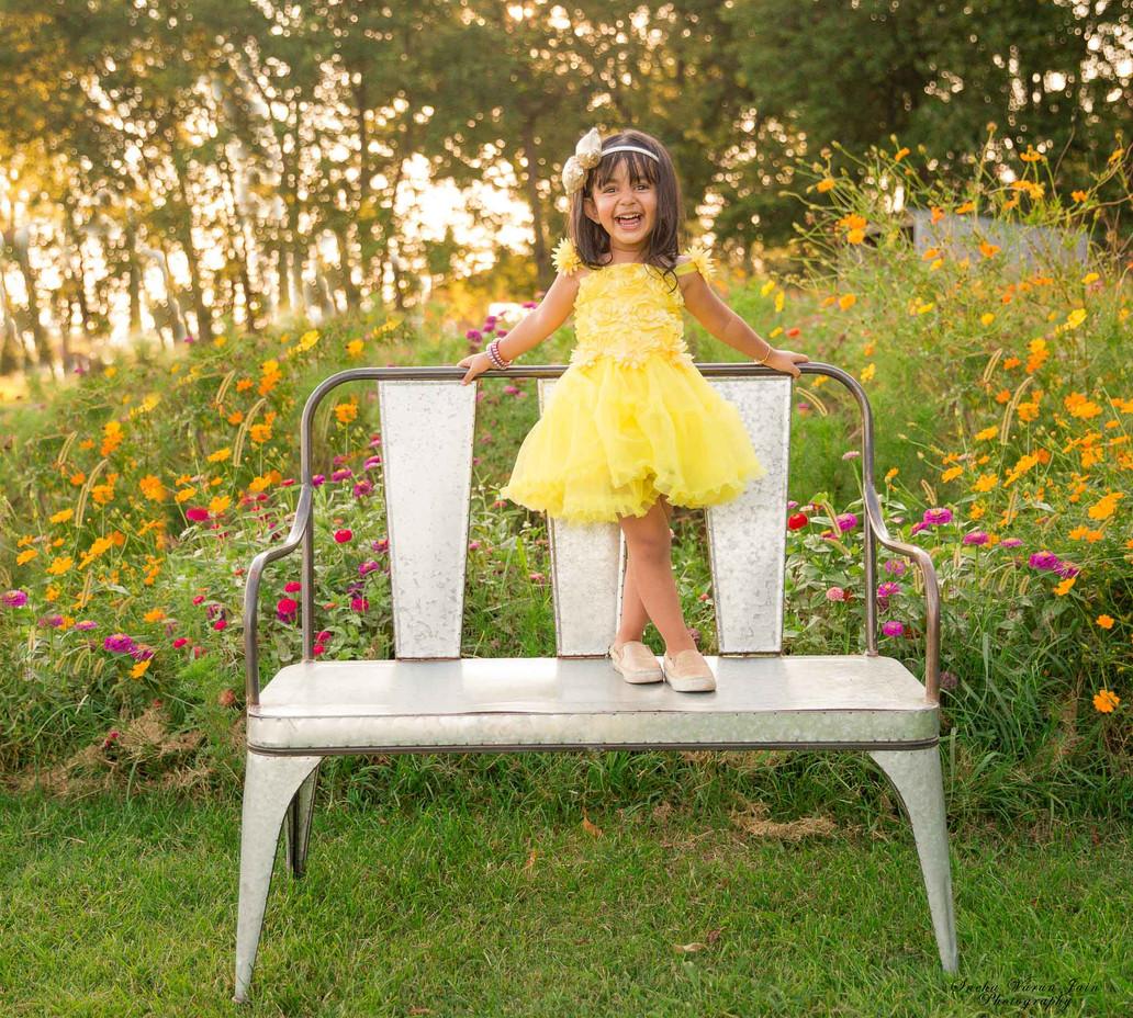kids photography toddler sunset sunflower happy smile birthday shoot